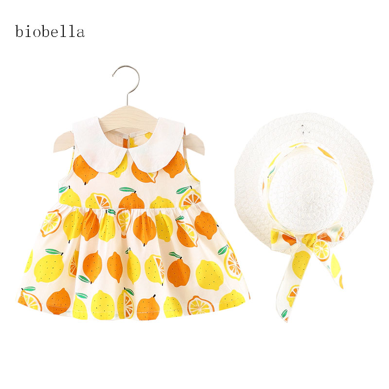 Kids Girls Summer Clothes Set Fruit Print Sleeveless Dress+White Cap 2pcs Suit Turn-down Collar Sweet Girl Clothing Sets Outfits