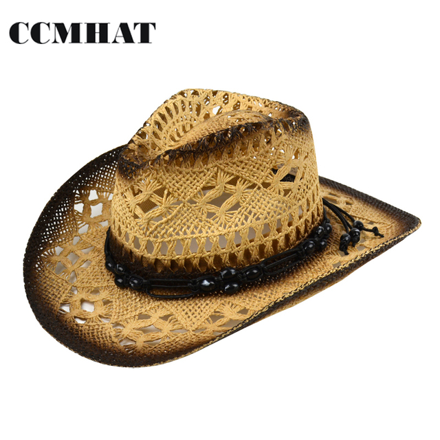 Cowboy Hats For Men Black Beads Decoration Hollow Hand-Compiled Adult Hats  Caps Environmental Glue Women Cowboy Hat Accessories 3e6d4fd04c2