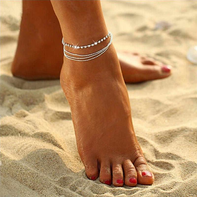 Grânulos de cristal corrente multicamadas moda tornozelo pulseira charme pé jóias boot jóias correntes cheville perna pulseira
