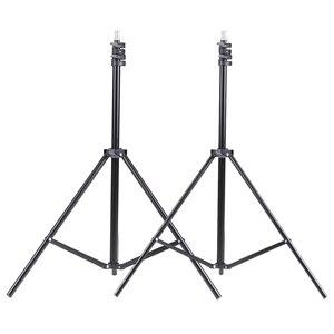 """Image 3 - Kit déclairage de Studio Photo 2 pièces 2M 6.6Ft support de lumière + 2 pièces 33 """"blanc parapluie léger doux + 45W ampoule + prise pivotante"""