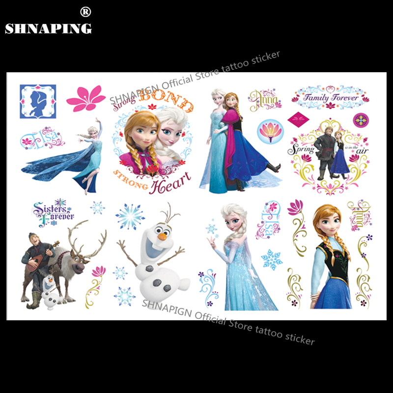 SHNAPIGN Ice Princess Family Child Temporary Tattoo Body Art Flash Tattoo Stickers 17*10cm Waterproof Henna Styling Wall Sticker