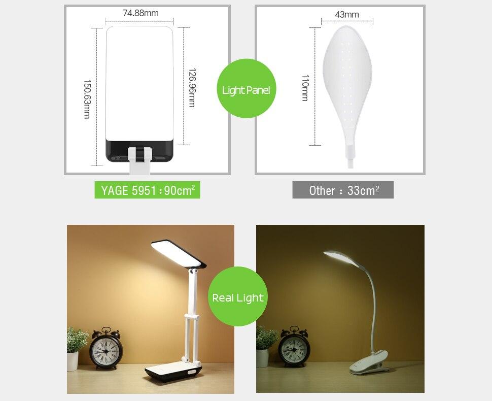 YAGE Led Desk Lamps Night Light Foldable LED Table Lamp 1050mAh Battery in Table Light Flexible Three Modes Mini Lamp Flash Deal 9
