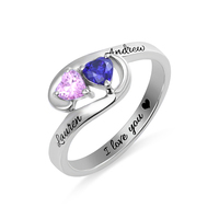 AILIN Engraved Couple Rings Two Heart Birthstones Promise Ring In Silver For Her Engagement Rings In Size 5 12