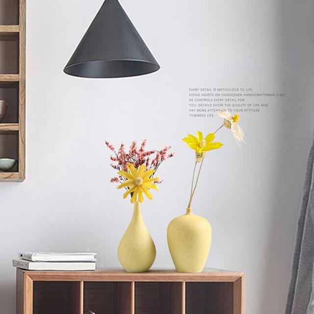 European Simple Ceramic vase yellow Porcelain vases small flower vase DIY Bottle wedding vases for table decorations home decor 2