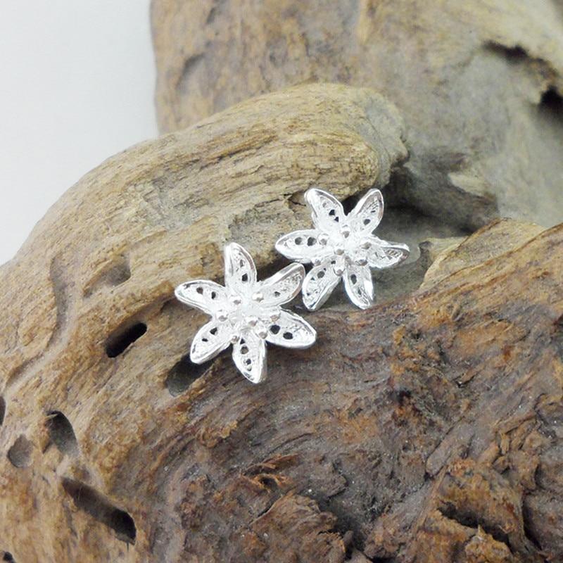 Small Flower 999 Sterling Silver Stud Earrings For Women Accessories Handmade Earing Luxury Jewelry Trendy Korean Fashion Studs in Stud Earrings from Jewelry Accessories