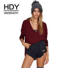 HDY Haoduoyi Brand 2019 Four Colors Women Casual Sweaters Deep V-Neck Long Sleeve Split Female Basic Pullovers Lady Tops