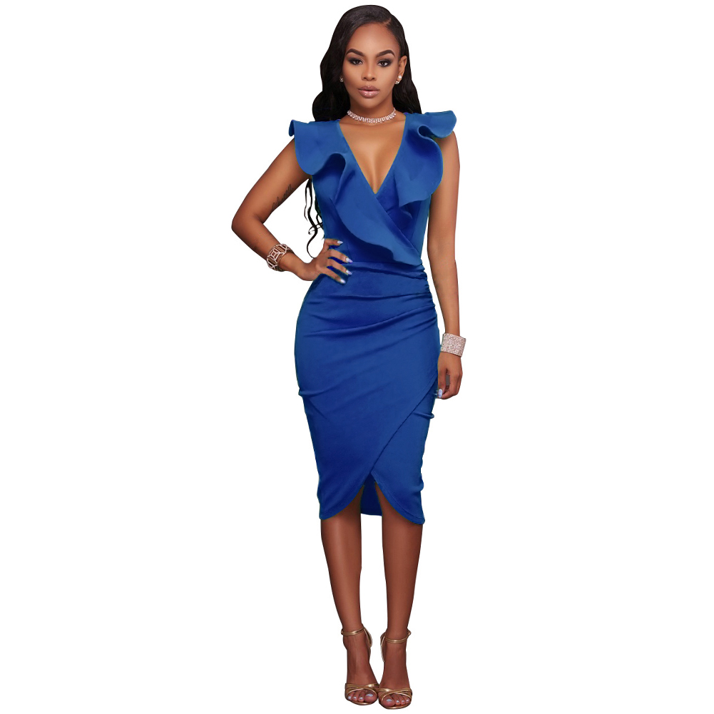 e59ade906 Sexy Slim Bodycon Dress Women Midi Dress Ruffled V Neck Sleeveless ...