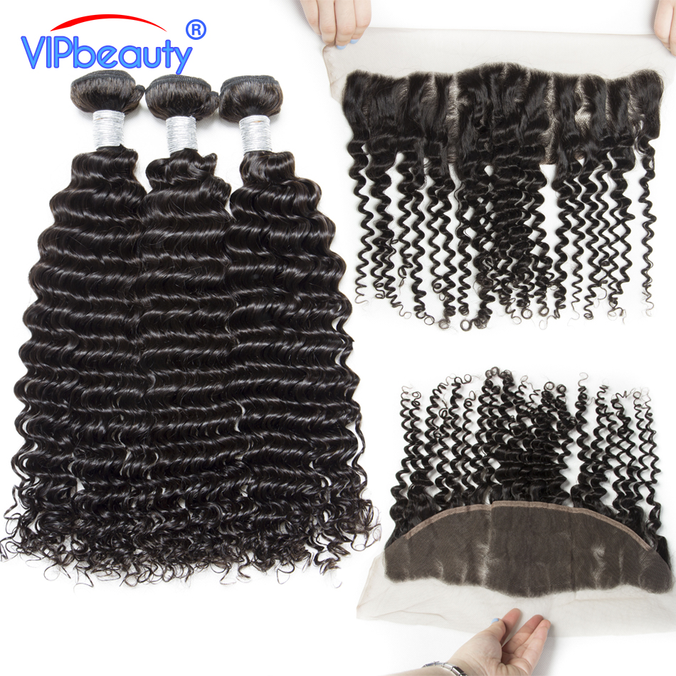 VIPbeauty Malaysian Curly Hair With Frontal Human Hair Weave Remy Hair Extensions Ear To Ear Lace