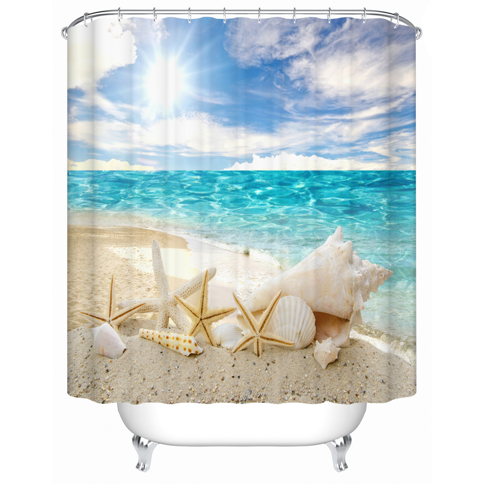 Luxury bathroom curtains - Bathroom Products Plastic Waterproof Beach Shower Curtains Bathroom Curtain In The Bath Bathroom Print Fabric Curtain