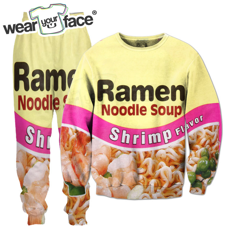 Shrimp Ramen Food 3D All Over Printed Crewneck Sweatshirts Sweatpants Tracksuits Streetwear Kid Women Men Sets US Size Dropship