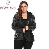IN'VOLAND Big Size Women Jacket Coat Winter Autumn Hooded Long Sleeve Lady Large Faux Leather Jacket Outerwear Plus Size 3XL