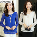 Korean style cheap clothes china plus size lace chiffon blouse o-neck long sleeve women tops shirt blusa de renda feminino C253