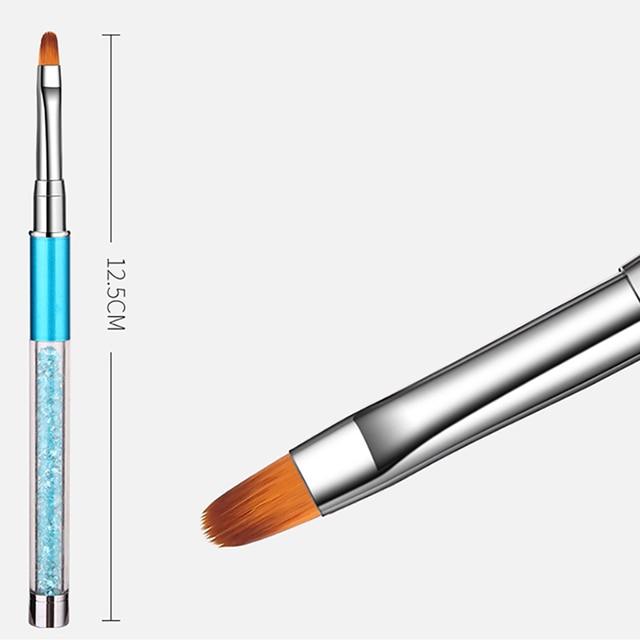 ROHWXY Nail Brush Rhinestone Handle Drawing UV Gel Pen Manicure Nail Art Brush Gradient Painting Pen Acrylic GEL Extension Pen 5