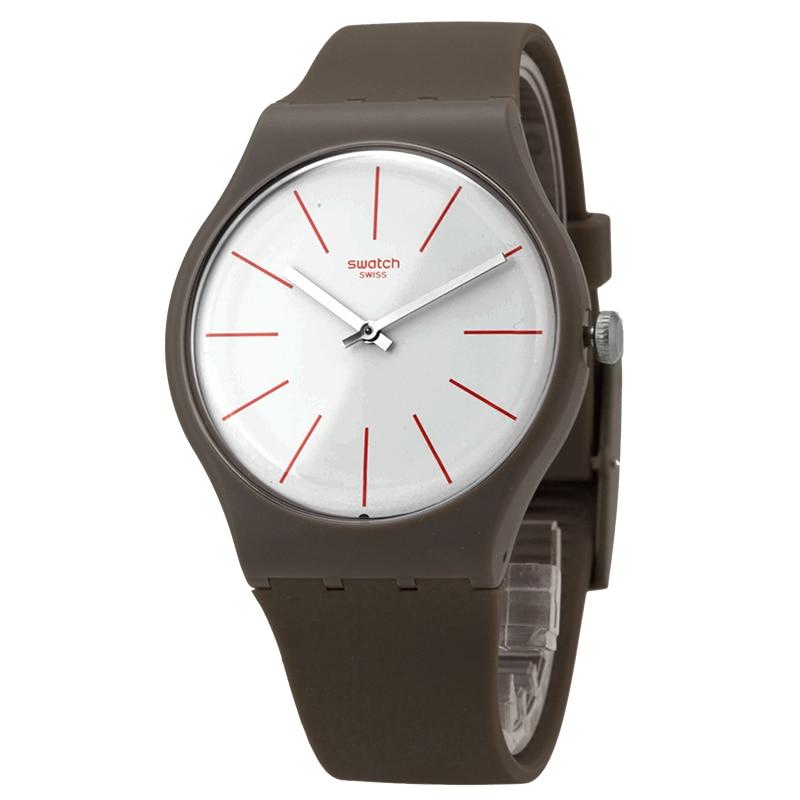 Swatch Watch Original Colorful Series Stylish Simple Brown Quartz Men's Watch SUOC107 swatch original colorful quartz watch suob135