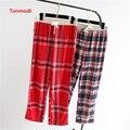 Las mujeres del otoño y el invierno de 100% algodón hilado teñido de tela de esmerilado flannelet pantalones de pijama derlook pantalones