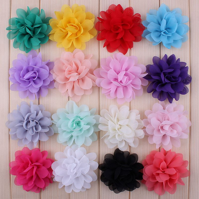 """120pcs/lot 2.8"""" 16color Artificial Chiffon Silk Flowers For Girls Hair Accessories Soft Petal Peony Fabric Flowers For Headbands"""