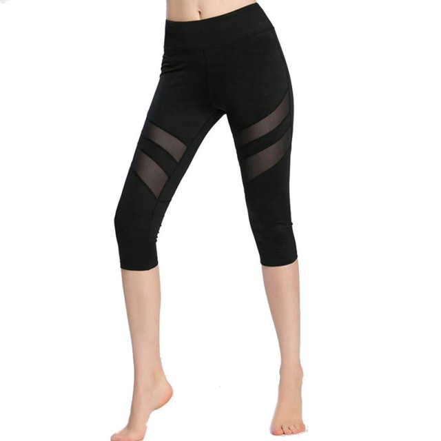 d6cfc1f90daaa Running Tights Women Sports Leggings Fitness Women Skinny Leggings  Patchwork Mesh Yoga Leggings Fitness Sports Capri Pants