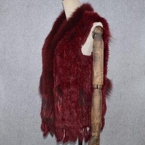 Image 3 - 2020 Hot sprzedaż Party kobiety prawdziwe futro z królika kamizelka dzianiny frędzle prawdziwe prawdziwe futro z królika kamizelka prawdziwy kołnierz z futra szopa kamizelka