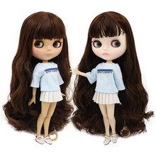 Buzlu BJD fabrika blyth doll oyuncak derin kahverengi saç ortak vücut beyaz/tan cilt BL0312 30cm 1/6
