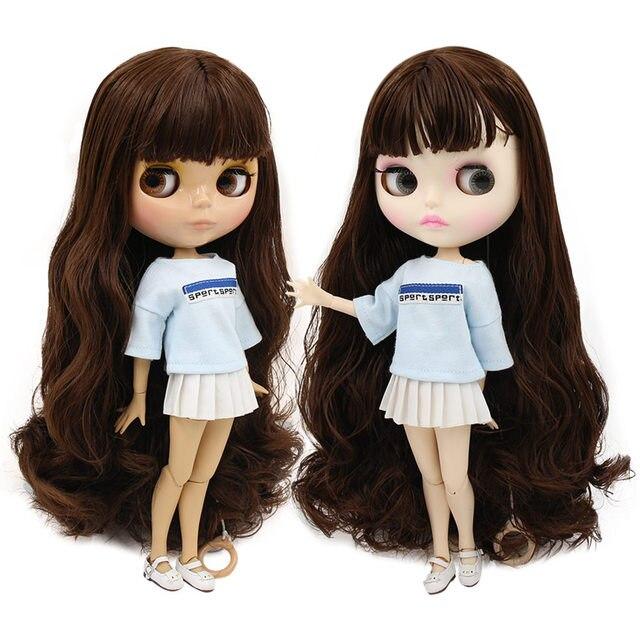 ICY BJD مصنع blyth دمية لعبة عميق براون الشعر المشترك الجسم الأبيض/تان الجلد BL0312 30 سنتيمتر 1/6