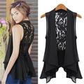 Women Summer Fashion Medium Vest Lace Back Sleeveless Pleated Hem Blouse Jacket