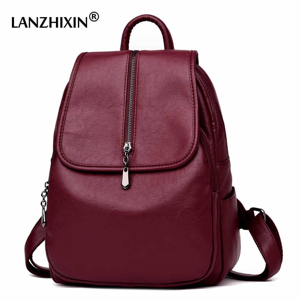 71d9ea4ceee5 Lanzhixin женские рюкзаки винтажные водяные кожаные рюкзаки для  девочек-подростков дорожные рюкзаки школьные сумки на