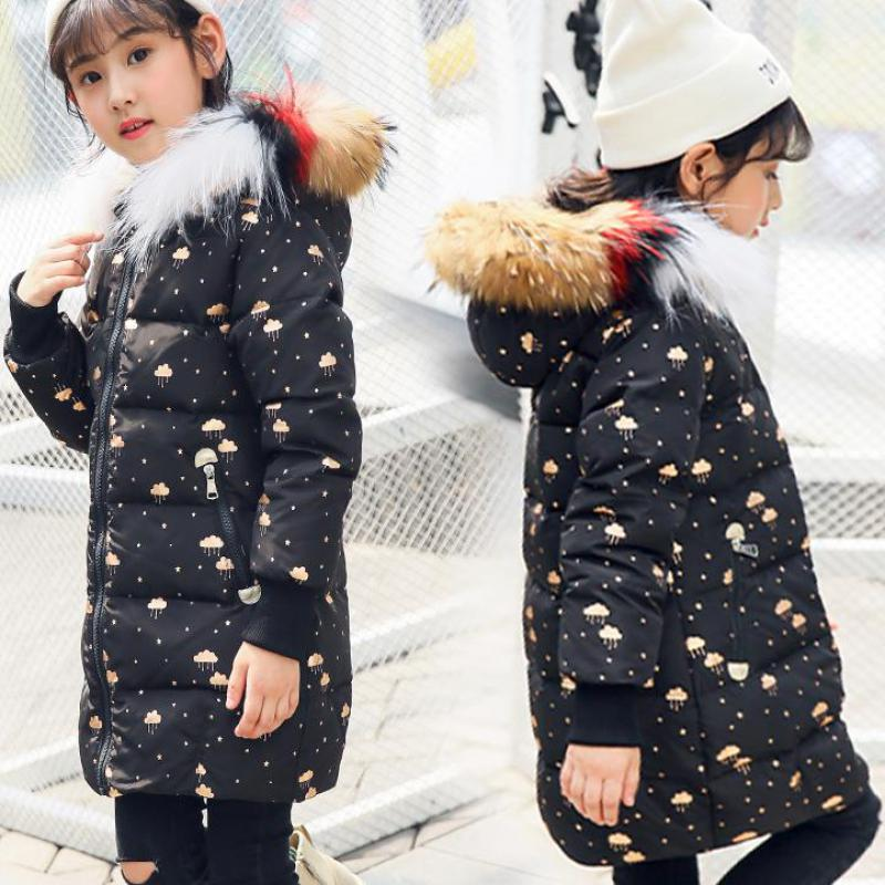 2018 Girls Winter Down Coat Natural Fur Collar Long Style Clothes Kids Thick Warm Parkas Coats For Girls Children Down Jackets fashion girls winter down coat teenagers long down thick warm coat parkas fur collar hooded jackets clothing children snowsuit