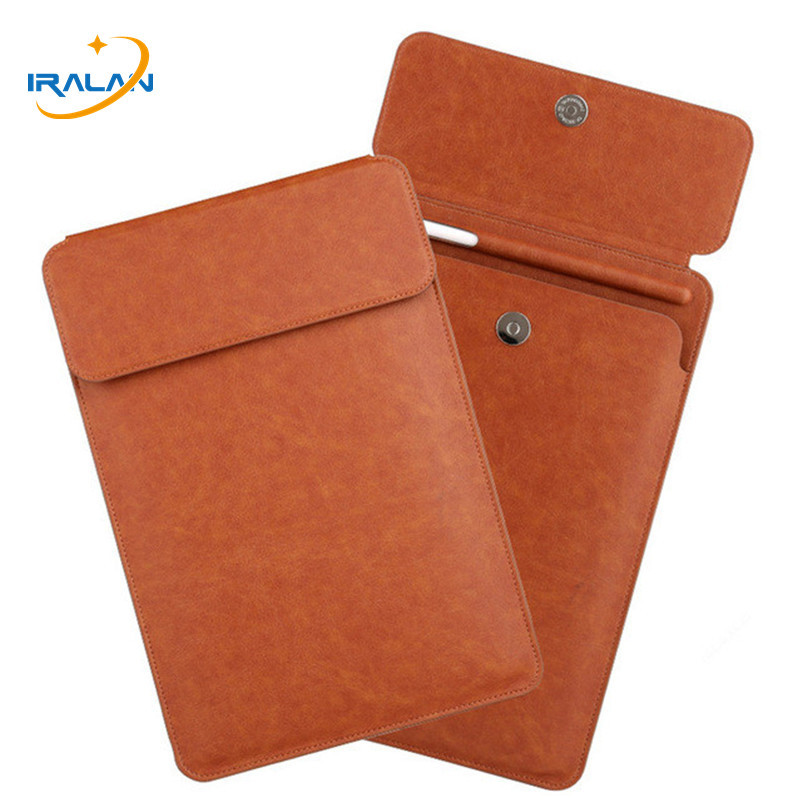 New Metal Magnetic Buckle Cover Case For Apple IPad Pro 11 2018 PU Pouch Sleeve Pencil Slot Bag For IPad Pro 9.7/10.5/11 Inch
