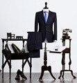 Marca ternos de negócio dos homens 2016 nova primavera dos homens autênticos calça + jaqueta de forma Magro