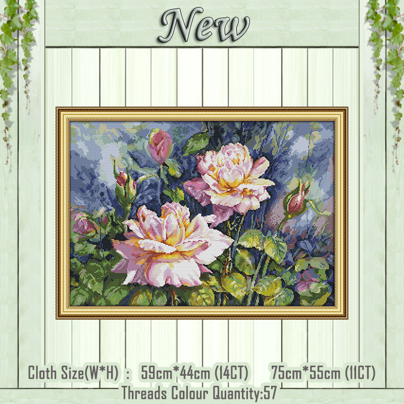 Vintage Rose Flowers Scenery Painting Counted Print On Canvas DMC 14CT 11CT Chinese Cross Stitch Needlework Sets Embroidery Kits