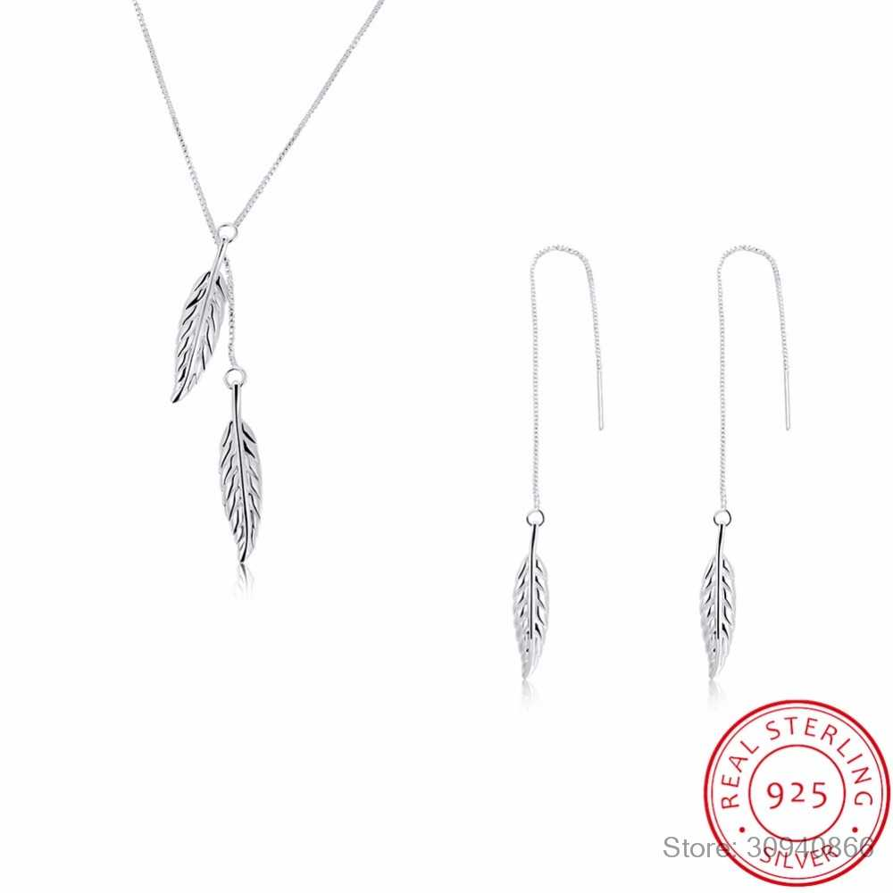 LEKANI Fine Jewelry Sets 925 Sterling Silver Jewelry Set Leaf Pendant Necklaces Hook Earrings Leaves