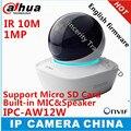 Dahua original inglês versão ipc-aw12w hd 1mp wifi mini rede câmera IR10M Distância MICROFONE embutido & SPK com Cartão SD slot