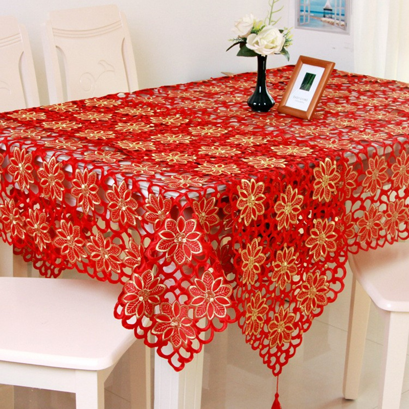 Adasmile Red Floral Emproidered Placemat Table Runner Mat