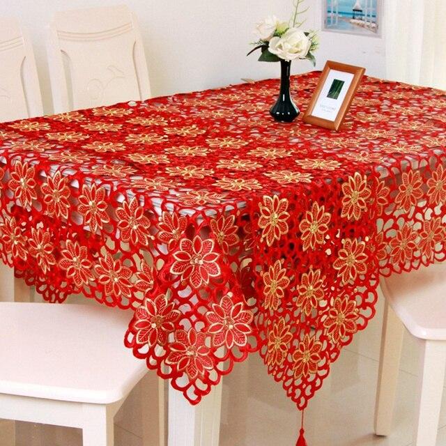 adasmile rouge floral emproidered napperon chemin de table tapis de couverture de table nappes. Black Bedroom Furniture Sets. Home Design Ideas