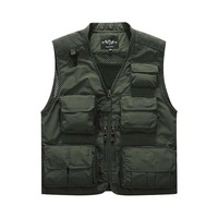 Spring Summer Fashion Mesh VEST With Many Pockets Men Casual Waistcoat Stand Collar Tactical Military Sleeveless Jackets OUTWEAR