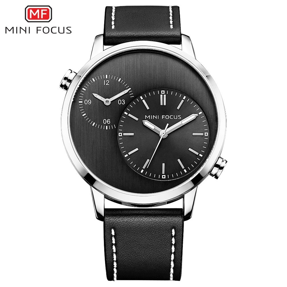 MINI FOCUS Two Time Zones Creative Watch Man 2021 Top Brand Luxury Men Watch Leather Quartz Fashion Male Clock Relogio Masculino