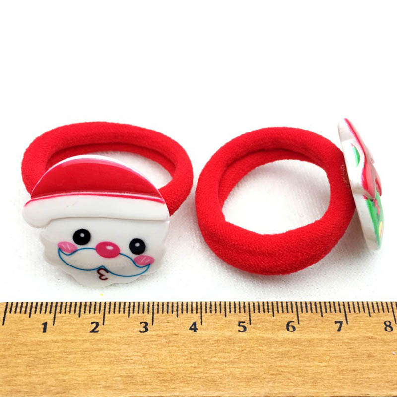 2PCS/ Pairs Of Fashion Girls Lovely  Popular Christmas Hair Strings Snowman  Children's Elastic Hair Adornment 3