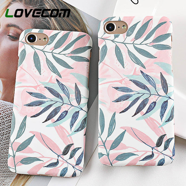 LOVECOM Phone Case For iPhone XS XR XS Max 5 5S SE 6 6S 7 8 Plus X Hot Fresh Plants Leave Matte Hard PC Phone Back Cover Cases