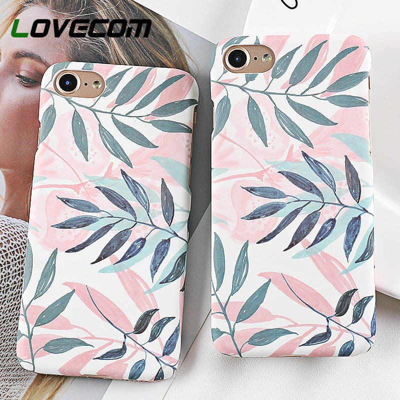 Чехол LOVECOM для телефона iPhone XS XR XS Max 5 5S SE 6 6S 7 8 Plus X Горячие свежие растения оставляют Матовый Жесткий чехол для телефона ПК