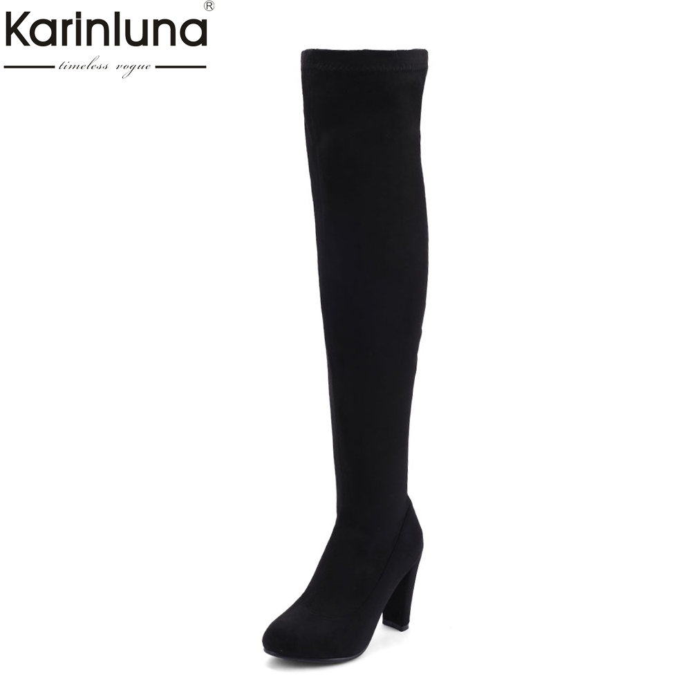 Karinluna 2018 Plus Size 34-43 Zip Up High Heels over-the-knee Boot Woman Shoes sexy brand Hot Sale Shoes Woman party Boots memunia big size 34 43 over the knee boots for women fashion shoes woman party pu platform boots zip high heels boots female