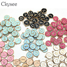 Ckysee 26pcs/lot 12*14mm Black White Pink Enamel Alphabet Initial Letter Charms Handmade Pendant For Diy Bracelet Jewelry Making(China)
