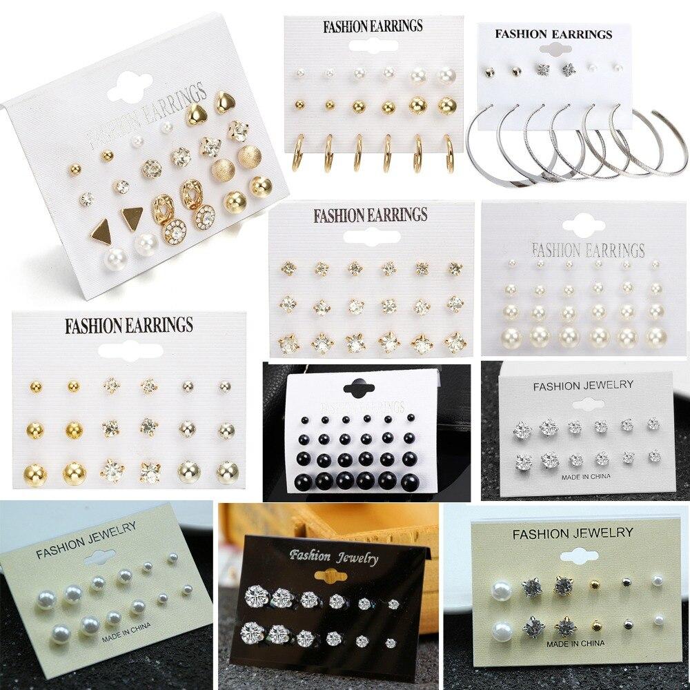 SexeMara Fashion 12 Pair/set Women Square Crystal Heart Stud Earrings For Women Piercing Simulated Pearl Flower Earrings