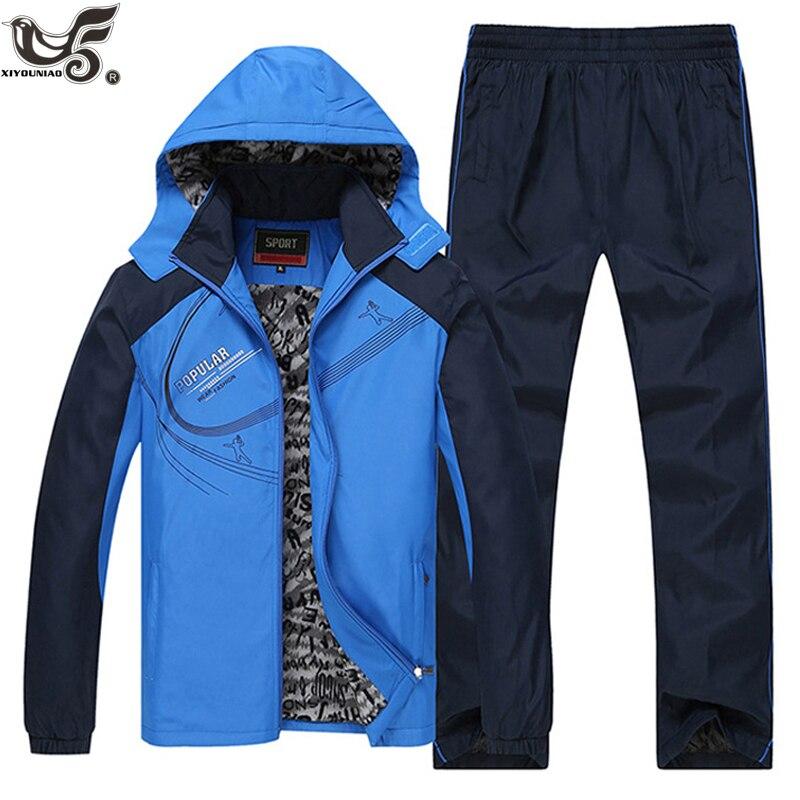 XIYOUNIAO costume de sport hommes hiver survêtements hommes ensembles épaissir polaire grande taille L ~ 6XL Hoodies + pantalon survêtement Outwear à capuche