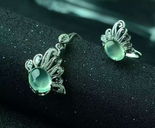Natural green prehnite gem jewelry sets natural gemstone ring Pendant Earrings 925 silver Stylish butterfly women party jewelry
