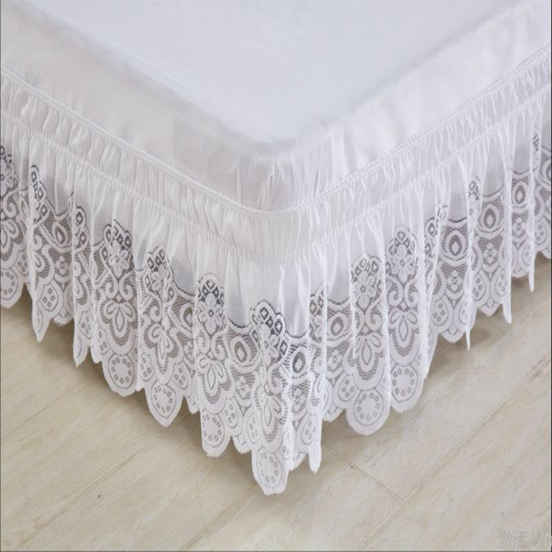 Free shipping lace princess without bed surface elastic band bed skirt twin full queen king size 37cm height bedspread