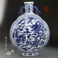 Jingdezhen ceramics antique porcelain flower vase with binaural Fu Home Furnishing living room decoration technology