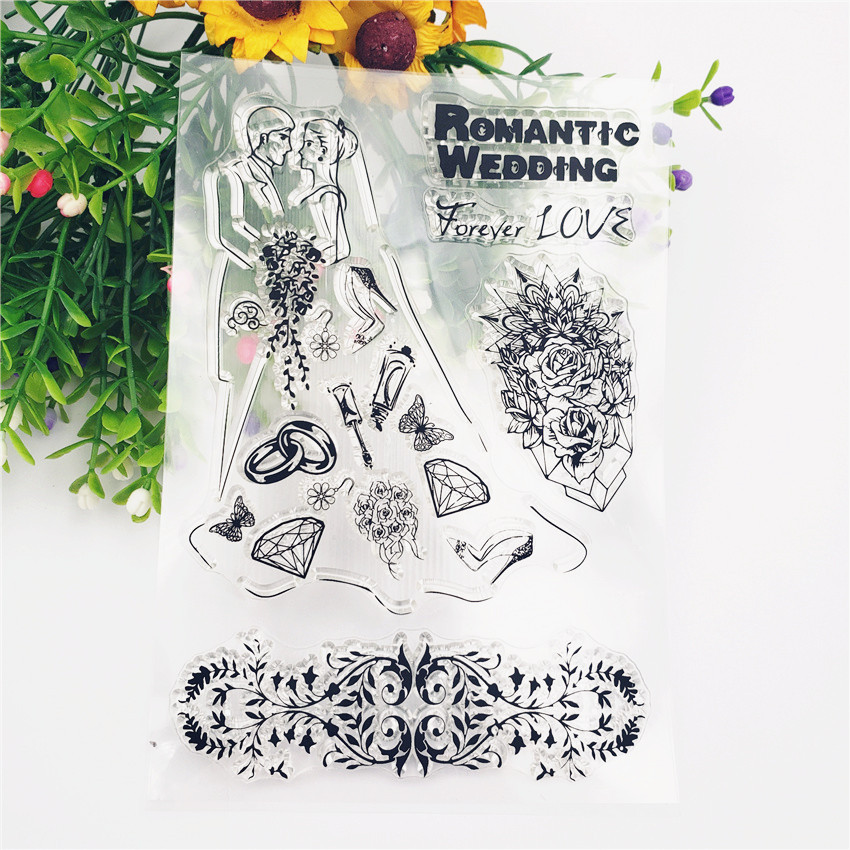 New Romantic Wedding Love Transparent Clear Stamps Silicone Seal for DIY Scrapbooking Card Making Photo Album Decoration Crafts in Stamps from Home Garden