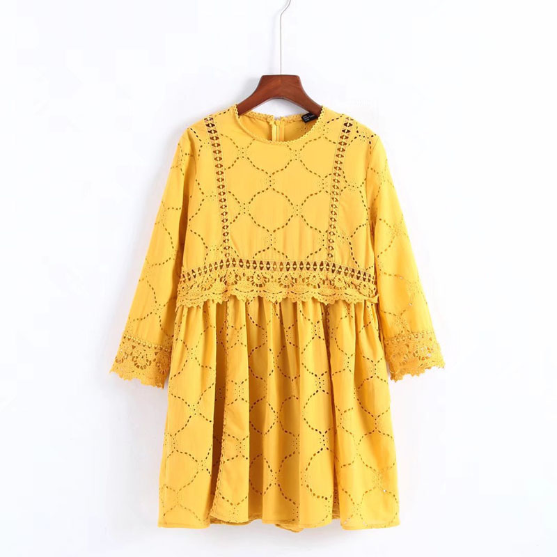 X3821 New fashion o neck crochet hollow out lace patchwork sweet playsuit women yellow collar long sleeve jumpsuits