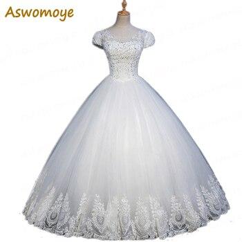 2018 New Fashion A-Line Wedding Dress Illusion O-Neck Sexy Wedding Dresses Beading Floor Length Custom Made vestidos de noiva Wedding Dresses