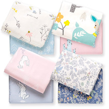 250cm x50cm 60s rabbit floral Sateen Cotton Cloth, Diy Bedding Sheets Fitted Pillowcase Fabric Soft Comfortable Cartoon 320g/m